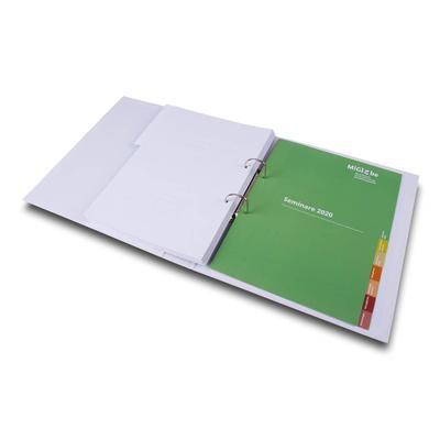 Ordner offen mit Registerblatt grün Seminare