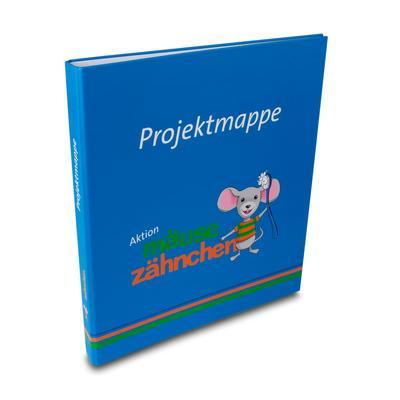Blaue Projektmappe mit Maus
